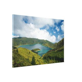 azores湖の景色 キャンバスプリント