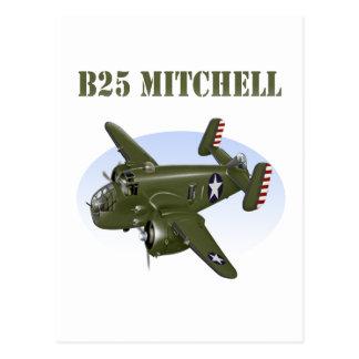 B25 Mitchellの爆撃機の緑の飛行機 ポストカード