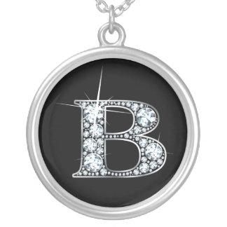 """""""B""""のダイヤモンドのきらきら光るなネックレス シルバープレートネックレス"""