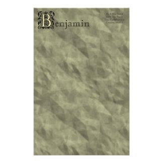 B -エンボスのヴィンテージのモノグラム 便箋