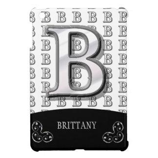 B -モダンな金属モノグラム(銀) iPad MINIケース