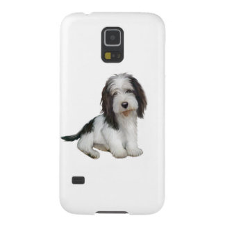 (b)小さいバセット犬Griffon Vendeen -白黒は坐ります Galaxy S5 ケース