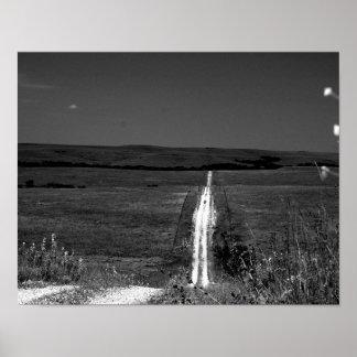B/Wのカンザスの燧石の丘 ポスター