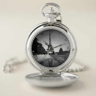 B&Wのスポットライトの壊中時計の銀のエッフェル塔 ポケットウォッチ