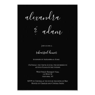 B&Wのモダンでエレガントなリハーサルの夕食の招待状 カード