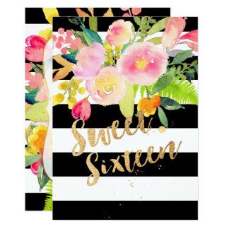 B+Wは、菓子16の水彩画の春の花縞で飾ります カード