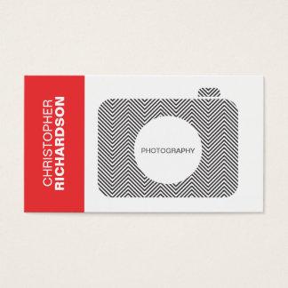 B&Wシェブロンのストライプなカメラのロゴの名刺 名刺