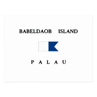 Babeldaobの島のパラオ諸島のアルファ飛び込みの旗 ポストカード