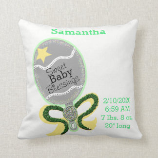 Baby Birth Stats Yellow Green Rattle Pillow クッション