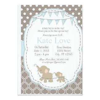 Baby Boy Elephant - Baby Shower Invitation カード