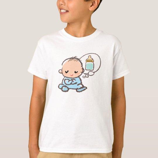 Baby boy thinking milk time tシャツ