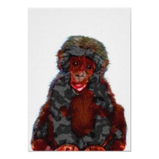 Baby Chimp Nursery Print on 5x7 Cardstock カード