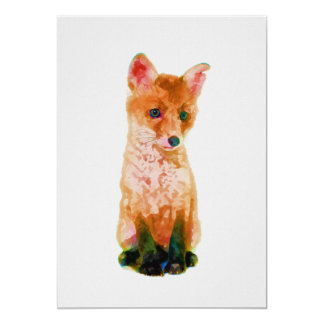 Baby Fox Nursery Print on 5x7 Cardstock カード