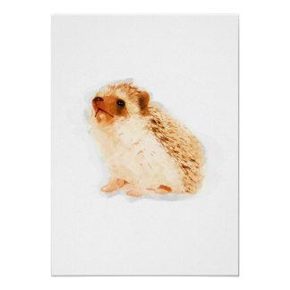 Baby Hedgehog Watercolor Nursery 5x7 Print カード