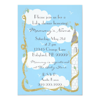 Baby Shower Invitation. Gold/Silver Castle カード