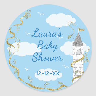 """Baby Shower Stickers """"Glittery Castle 1 1/2"""" or 3"""" ラウンドシール"""