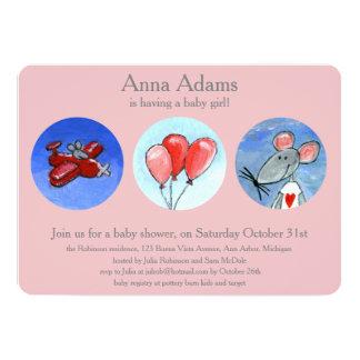 Babygirlのためのマウス、飛行機及び気球 カード