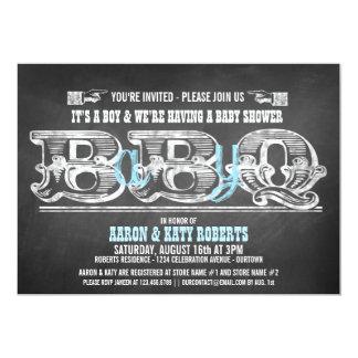 Babyqの (boy)ベビーシャワーのバーベキューの招待状 カード