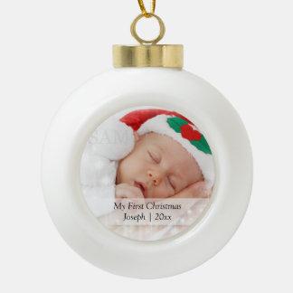 Babysの初めてのクリスマスの名前入りな写真テンプレート セラミックボールオーナメント