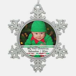 Babysの初めてのクリスマスの名前入りな写真テンプレート ピューター製スノーフレークオーナメント