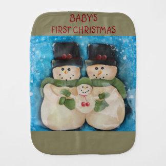 Babysの初めてのクリスマスの布-雪だるま家族 バープクロス
