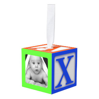 Babysの最初写真の立方体のオーナメント キューブオーナメント