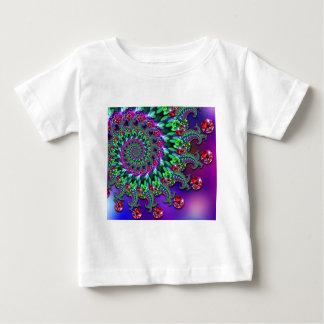 BabysのTシャツ- 《写真》ぼけ味のフラクタルの紫色Terquoise ベビーTシャツ