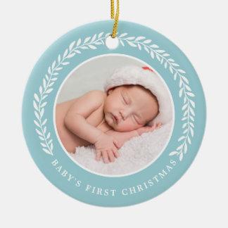 Baby's First Christmas Photo Ornament | Blue セラミックオーナメント