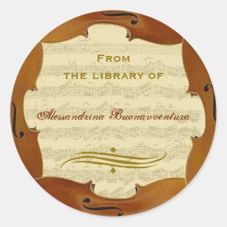 Bachのチェロの続きの原稿カスタマイズ可能な蔵書票 丸形シール・ステッカー