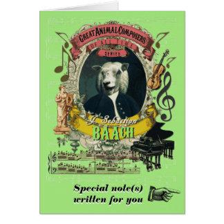 BachのパロディのBaachおもしろいな動物作曲家のヒツジ カード