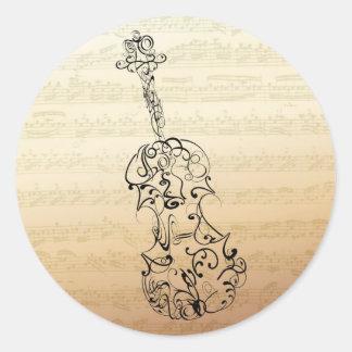 Bachの原稿のバイオリンの殴り書き 丸形シール・ステッカー