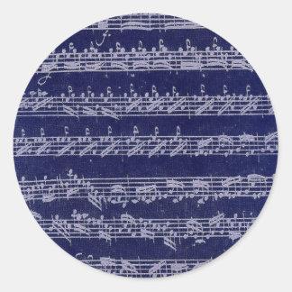 Bachの青Partita 丸形シール・ステッカー