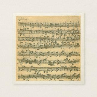 Bach Chaconneのバイオリン音楽原稿 スタンダードカクテルナプキン