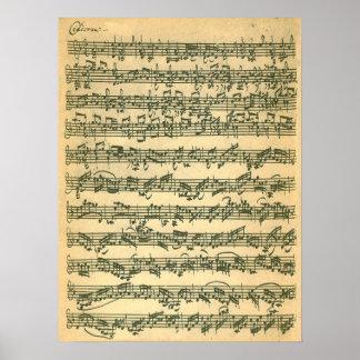 Bach Chaconneの最初ページの原稿ファクシミリ ポスター