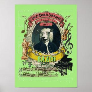 Bach Spoof Parody Baach Funny Sheep Composer ポスター
