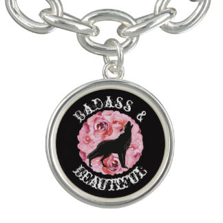 Badassおよび美しいオオカミおよびバラのチャームブレスレット チャームブレスレット