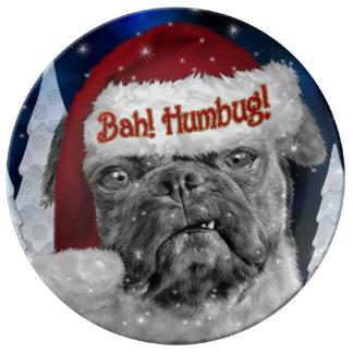 Bahのばかばかしい休日のパグ犬 磁器プレート