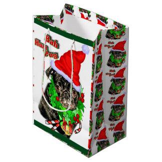 Bahのハム雑音のパグのクリスマス ミディアムペーパーバッグ