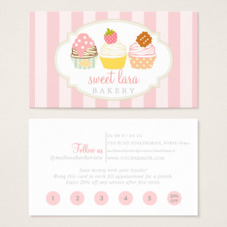 Bakery Cafe Retro Sweet Cupcakes Cute Loyalty Card 名刺