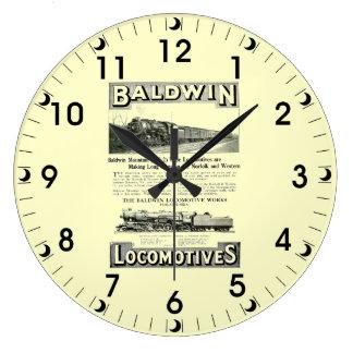 Baldwinの蒸気機関車山は1924年をタイプインします ラージ壁時計