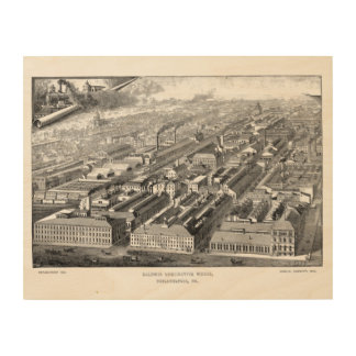 Baldwin機関車は工場1890木キャンバスを働かせます ウッドウォールアート
