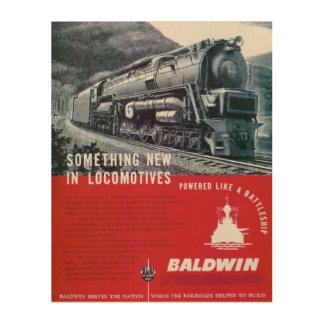 Baldwin機関車は蒸気タービン機関車を働かせます ウッドウォールアート