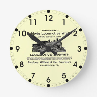 Baldwin機関車は1895柱時計を働かせます ラウンド壁時計