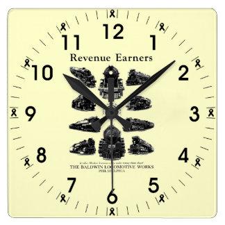Baldwin機関車、収入かせぐ人の柱時計 スクエア壁時計