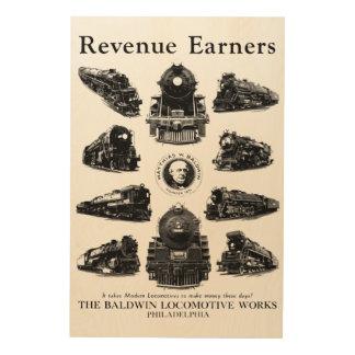 Baldwin機関車、収入かせぐ人 ウッドウォールアート