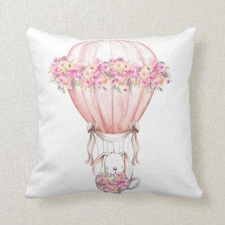 Balloon Boho Woodland Bunny Nursery Pillow クッション