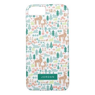 Bambiおよび森林友人パターン|はあなたの名前を加えます iPhone 8/7ケース