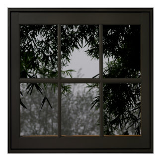 Bamboo Leaves Faux Window Illusion 24x24 Black ポスター