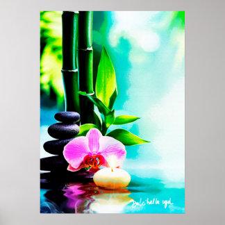 Bambou et orchidée ポスター