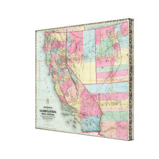 Bancroftのカリフォルニア、ネバダの地図 キャンバスプリント